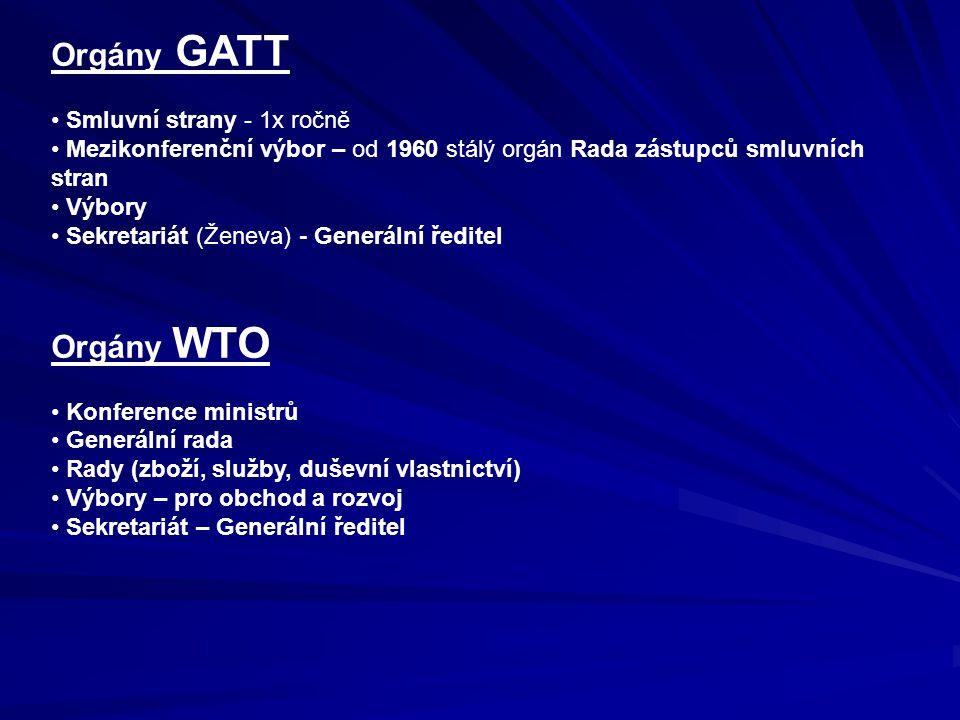Orgány GATT Smluvní strany - 1x ročně Mezikonferenční výbor – od 1960 stálý orgán Rada zástupců smluvních stran Výbory Sekretariát (Ženeva) - Generální ředitel Orgány WTO Konference ministrů Generální rada Rady (zboží, služby, duševní vlastnictví) Výbory – pro obchod a rozvoj Sekretariát – Generální ředitel