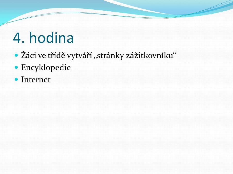 """4. hodina Žáci ve třídě vytváří """"stránky zážitkovníku"""" Encyklopedie Internet"""