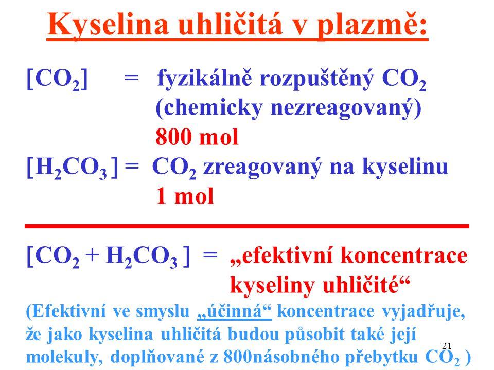 """21  CO 2  = fyzikálně rozpuštěný CO 2 (chemicky nezreagovaný) 800 mol  H 2 CO 3  = CO 2 zreagovaný na kyselinu 1 mol  CO 2 + H 2 CO 3  = """"efektivní koncentrace kyseliny uhličité (Efektivní ve smyslu """"účinná koncentrace vyjadřuje, že jako kyselina uhličitá budou působit také její molekuly, doplňované z 800násobného přebytku CO 2 ) Kyselina uhličitá v plazmě:"""