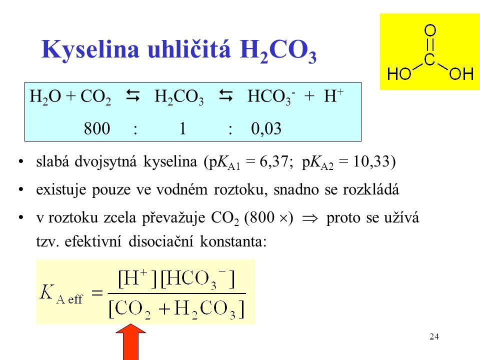 24 Kyselina uhličitá H 2 CO 3 slabá dvojsytná kyselina (pK A1 = 6,37; pK A2 = 10,33) existuje pouze ve vodném roztoku, snadno se rozkládá v roztoku zcela převažuje CO 2 (800  )  proto se užívá tzv.