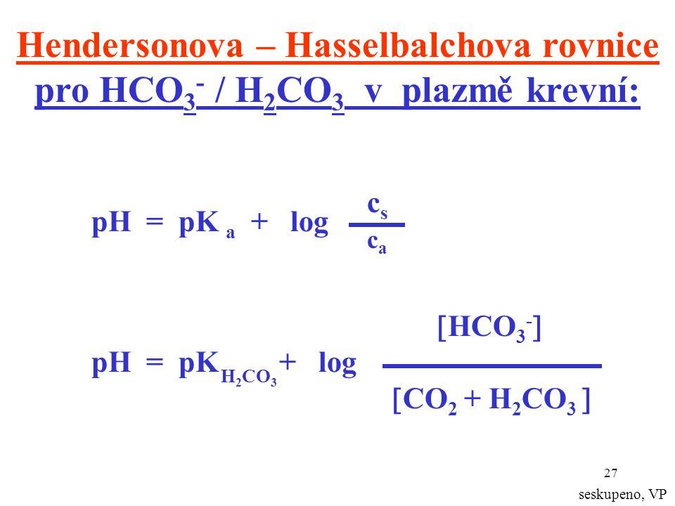 27 Hendersonova – Hasselbalchova rovnice pro HCO 3 - / H 2 CO 3 v plazmě krevní: pH = pK a + log cscs caca  HCO 3 -  pH = pK + log  CO 2 + H 2 CO 3  H 2 CO 3 seskupeno, VP