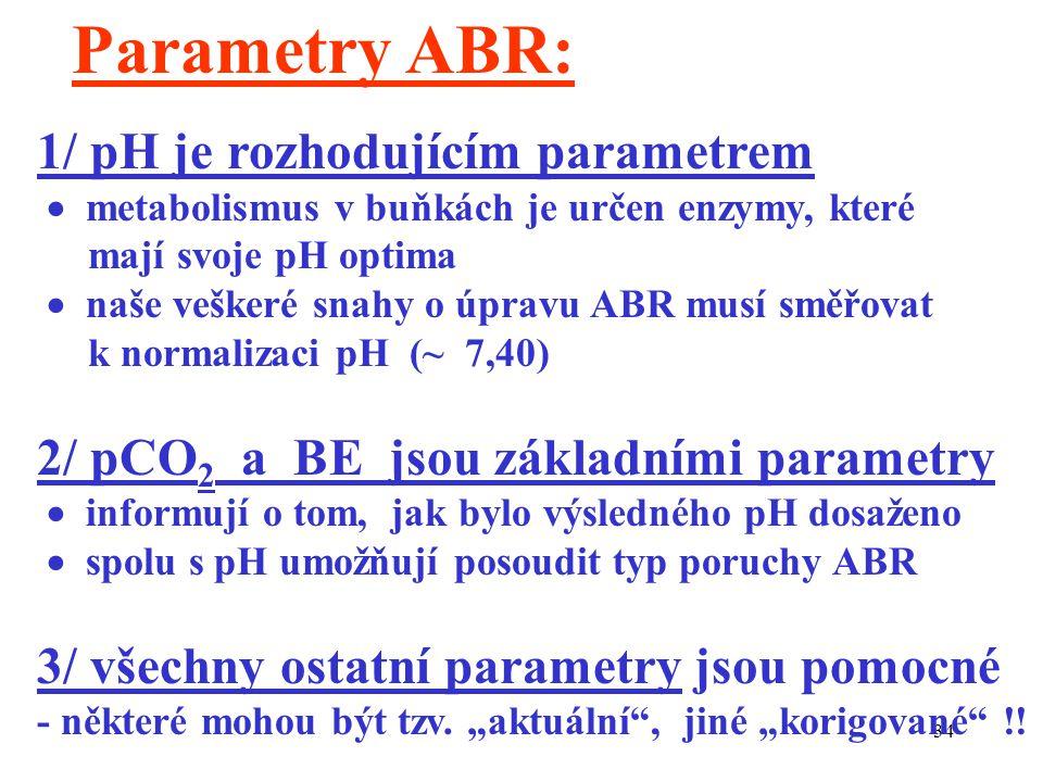 34 Parametry ABR: 1/ pH je rozhodujícím parametrem  metabolismus v buňkách je určen enzymy, které mají svoje pH optima  naše veškeré snahy o úpravu ABR musí směřovat k normalizaci pH (~ 7,40) 2/ pCO 2 a BE jsou základními parametry  informují o tom, jak bylo výsledného pH dosaženo  spolu s pH umožňují posoudit typ poruchy ABR 3/ všechny ostatní parametry jsou pomocné - některé mohou být tzv.