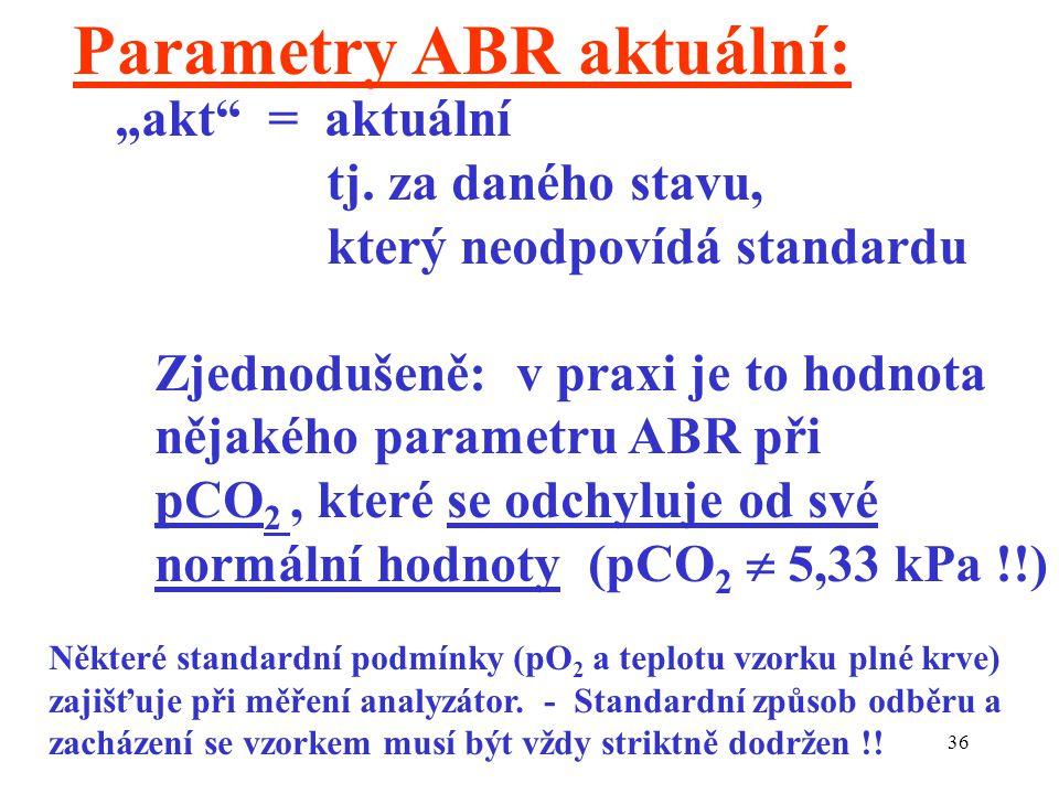 """36 Parametry ABR aktuální: """"akt"""" = aktuální tj. za daného stavu, který neodpovídá standardu Zjednodušeně: v praxi je to hodnota nějakého parametru ABR"""