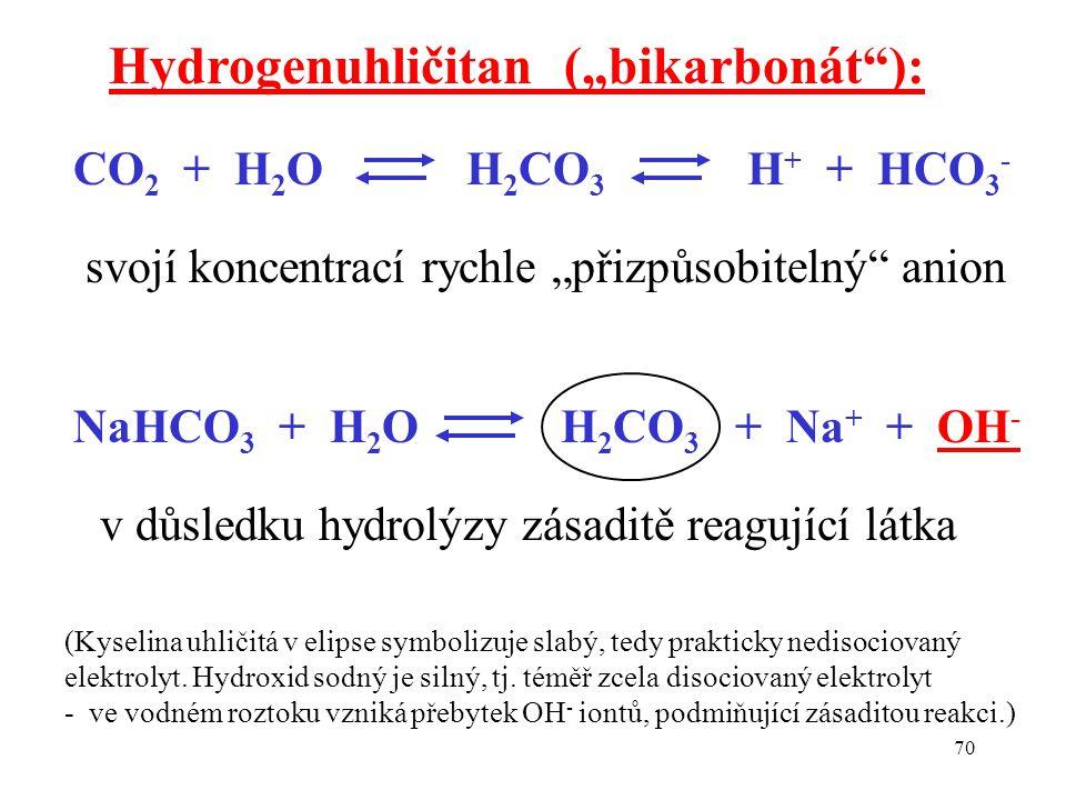 """70 CO 2 + H 2 O H 2 CO 3 H + + HCO 3 - Hydrogenuhličitan (""""bikarbonát ): svojí koncentrací rychle """"přizpůsobitelný anion NaHCO 3 + H 2 O H 2 CO 3 + Na + + OH - v důsledku hydrolýzy zásaditě reagující látka (Kyselina uhličitá v elipse symbolizuje slabý, tedy prakticky nedisociovaný elektrolyt."""