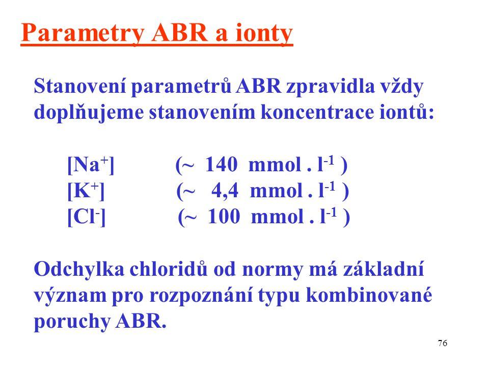 76 Parametry ABR a ionty Stanovení parametrů ABR zpravidla vždy doplňujeme stanovením koncentrace iontů: [Na + ] (~ 140 mmol. l -1 ) [K + ] (~ 4,4 mmo