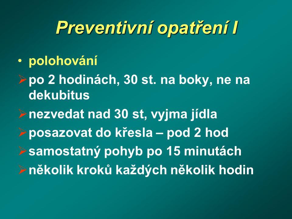 Preventivní opatření I polohování  po 2 hodinách, 30 st. na boky, ne na dekubitus  nezvedat nad 30 st, vyjma jídla  posazovat do křesla – pod 2 hod