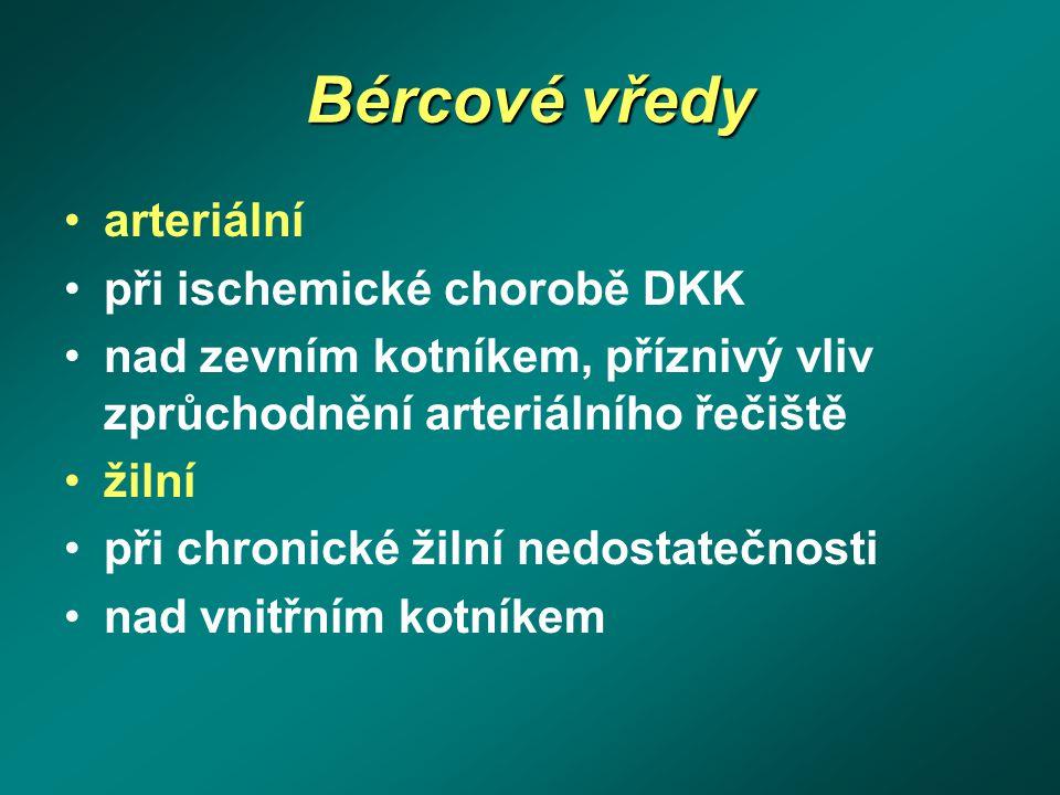 Bércové vředy arteriální při ischemické chorobě DKK nad zevním kotníkem, příznivý vliv zprůchodnění arteriálního řečiště žilní při chronické žilní ned