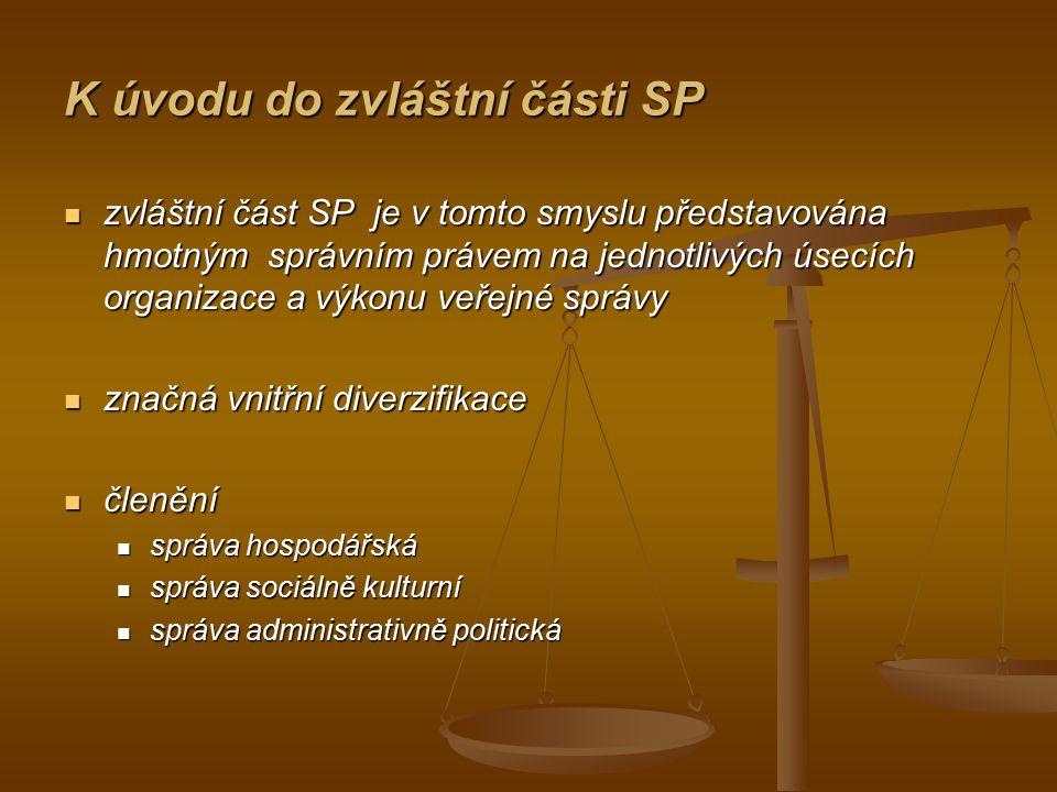 K úvodu do zvláštní části SP zvláštní část SP je v tomto smyslu představována hmotným správním právem na jednotlivých úsecích organizace a výkonu veře