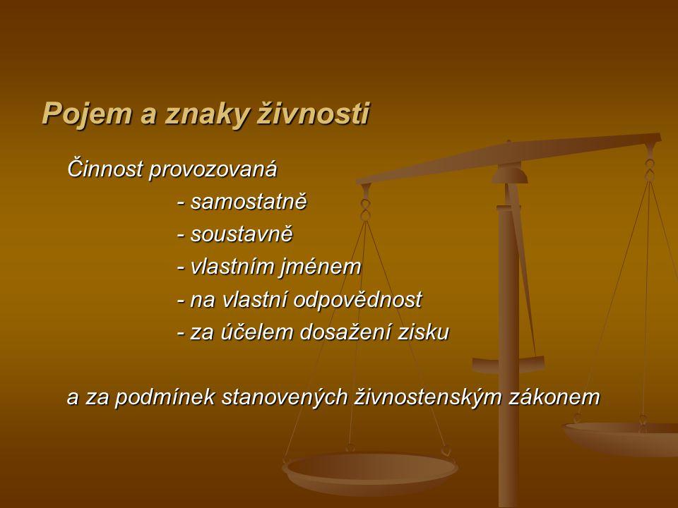Druhy živností - živnosti ohlašovací, - živnosti ohlašovací, - živnost volná (příloha č.