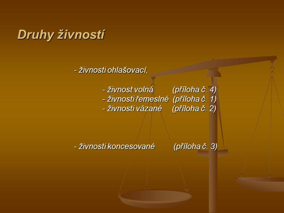 Druhy živností - živnosti ohlašovací, - živnosti ohlašovací, - živnost volná (příloha č. 4) - živnosti řemeslné (příloha č. 1) - živnosti vázané (příl