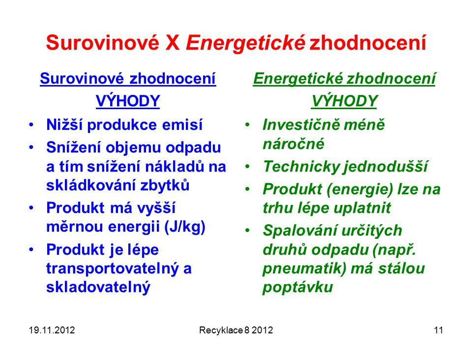 Surovinové X Energetické zhodnocení Surovinové zhodnocení VÝHODY Nižší produkce emisí Snížení objemu odpadu a tím snížení nákladů na skládkování zbytků Produkt má vyšší měrnou energii (J/kg) Produkt je lépe transportovatelný a skladovatelný Energetické zhodnocení VÝHODY Investičně méně náročné Technicky jednodušší Produkt (energie) lze na trhu lépe uplatnit Spalování určitých druhů odpadu (např.