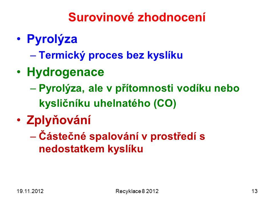 Surovinové zhodnocení Pyrolýza –Termický proces bez kyslíku Hydrogenace –Pyrolýza, ale v přítomnosti vodíku nebo kysličníku uhelnatého (CO) Zplyňování –Částečné spalování v prostředí s nedostatkem kyslíku 19.11.2012Recyklace 8 201213