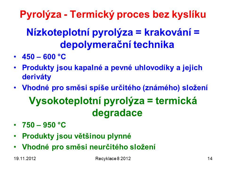 Pyrolýza - Termický proces bez kyslíku Nízkoteplotní pyrolýza = krakování = depolymerační technika 450 – 600 °C Produkty jsou kapalné a pevné uhlovodíky a jejich deriváty Vhodné pro směsi spíše určitého (známého) složení Vysokoteplotní pyrolýza = termická degradace 750 – 950 °C Produkty jsou většinou plynné Vhodné pro směsi neurčitého složení 19.11.2012Recyklace 8 201214