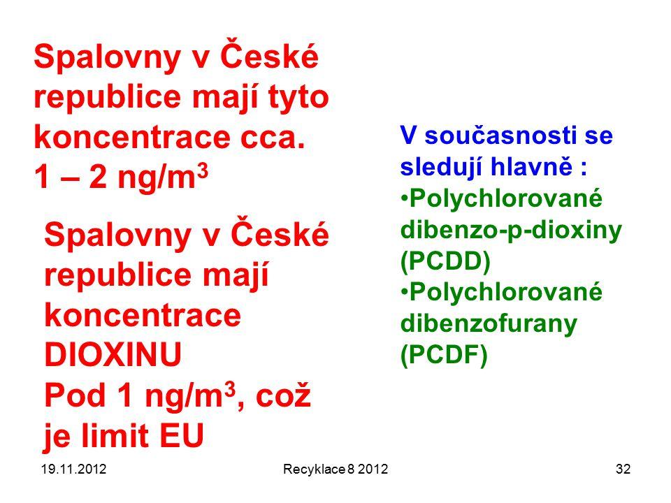 19.11.2012Recyklace 8 201232 V současnosti se sledují hlavně : Polychlorované dibenzo-p-dioxiny (PCDD) Polychlorované dibenzofurany (PCDF) Spalovny v České republice mají tyto koncentrace cca.