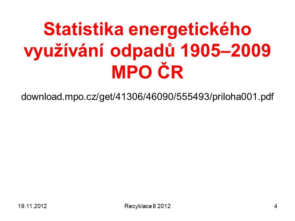 Hydrogenace Pyrolýza, ale v přítomnosti vodíku nebo kysličníku uhelnatého (CO) 450 – 600 °C Produkty jsou NASYCENÉ kapalné a pevné uhlovodíky a jejich deriváty Vhodné pro směsi spíše určitého (známého) složení PRODUKT je zamýšlen jako topný olej 19.11.2012Recyklace 8 201215
