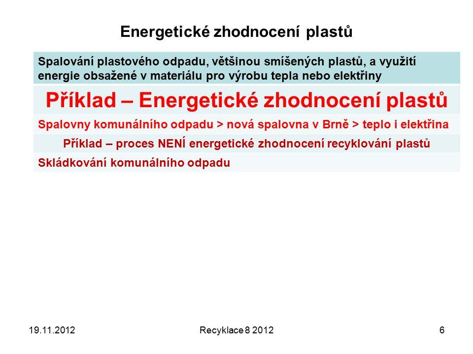 Energetické zhodnocení plastů Spalování plastového odpadu, většinou smíšených plastů, a využití energie obsažené v materiálu pro výrobu tepla nebo elektřiny Příklad – Energetické zhodnocení plastů Spalovny komunálního odpadu > nová spalovna v Brně > teplo i elektřina Příklad – proces NENÍ energetické zhodnocení recyklování plastů Skládkování komunálního odpadu Recyklace 8 2012619.11.2012