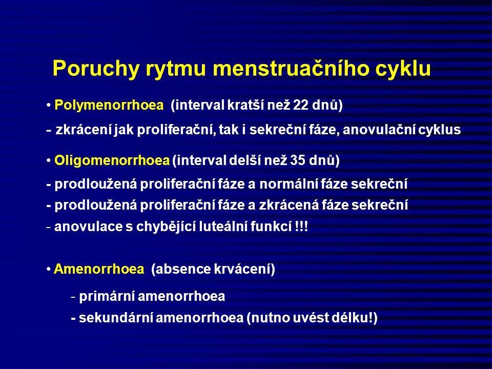 Poruchy rytmu menstruačního cyklu Polymenorrhoea (interval kratší než 22 dnů) - zkrácení jak proliferační, tak i sekreční fáze, anovulační cyklus Olig