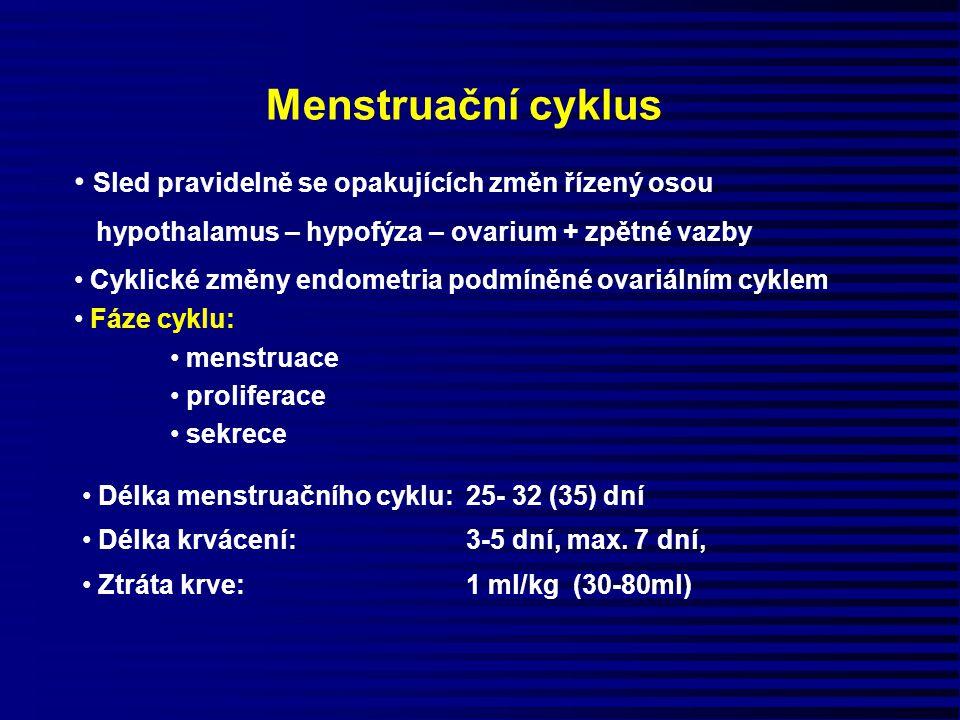 Menstruační cyklus Délka menstruačního cyklu: 25- 32 (35) dní Délka krvácení: 3-5 dní, max. 7 dní, Ztráta krve: 1 ml/kg (30-80ml) Sled pravidelně se o