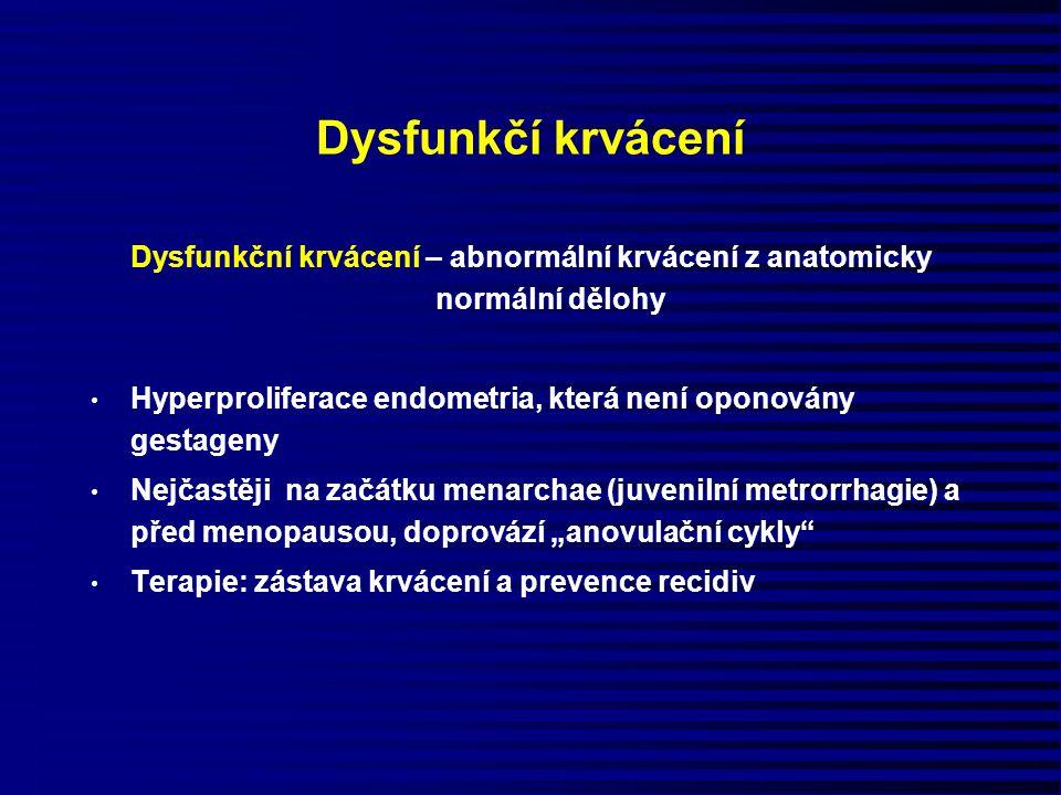 Dysfunkčí krvácení Dysfunkční krvácení – abnormální krvácení z anatomicky normální dělohy Hyperproliferace endometria, která není oponovány gestageny