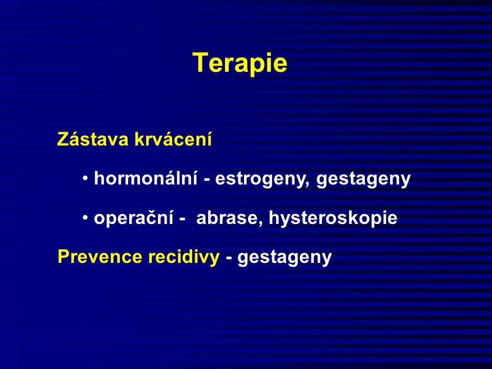 Terapie Zástava krvácení hormonální - estrogeny, gestageny operační - abrase, hysteroskopie Prevence recidivy - gestageny