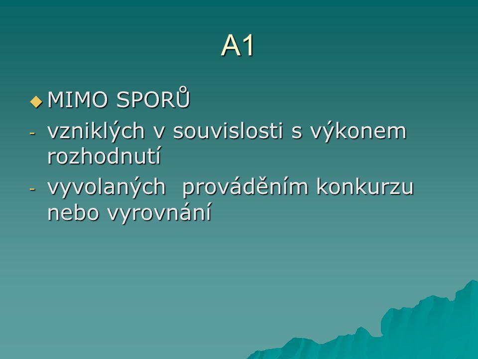 A1  MIMO SPORŮ - vzniklých v souvislosti s výkonem rozhodnutí - vyvolaných prováděním konkurzu nebo vyrovnání