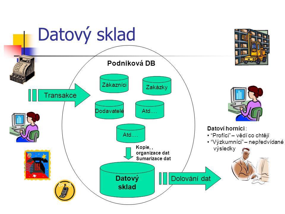 Datový sklad Zákazníci Atd.… DodavateléAtd.… Zakázky Datový sklad Podniková DB Transakce Kopie,, organizace dat Sumarizace dat Dolování dat Datoví horníci : Profíci – vědí co chtějí Výzkumníci – nepředvídané výsledky