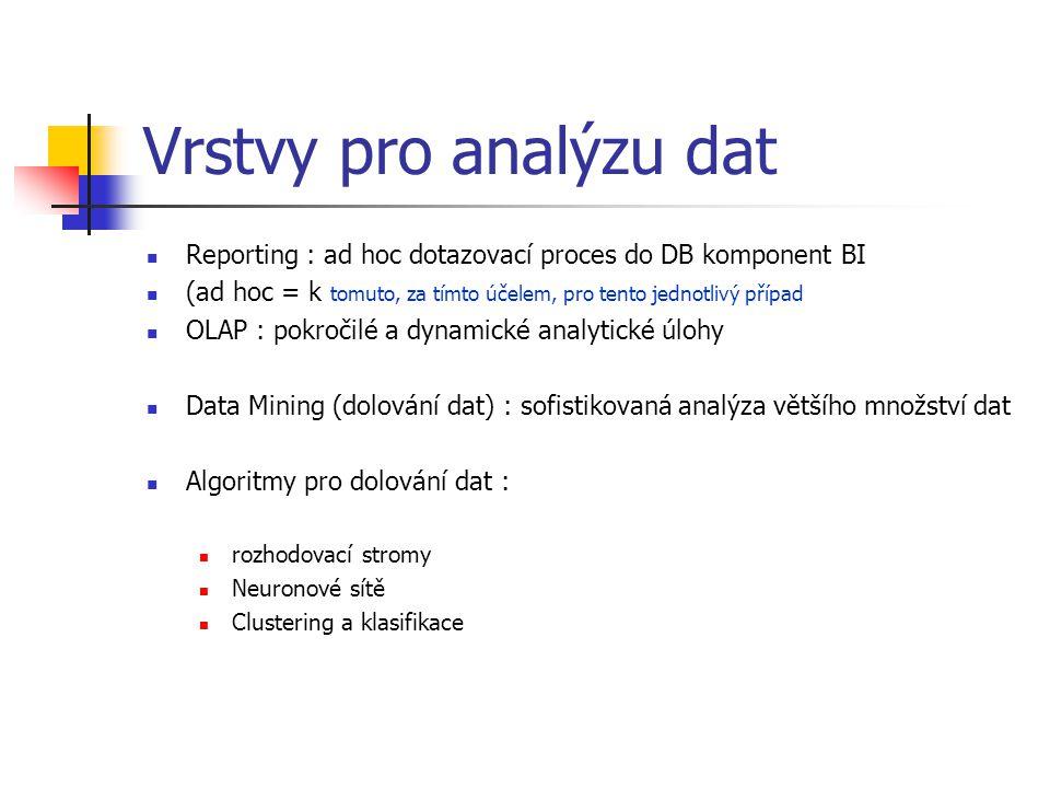 Vrstvy pro analýzu dat Reporting : ad hoc dotazovací proces do DB komponent BI (ad hoc = k tomuto, za tímto účelem, pro tento jednotlivý případ OLAP : pokročilé a dynamické analytické úlohy Data Mining (dolování dat) : sofistikovaná analýza většího množství dat Algoritmy pro dolování dat : rozhodovací stromy Neuronové sítě Clustering a klasifikace