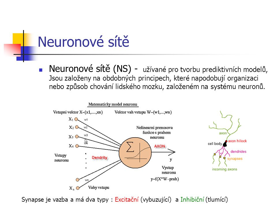 Neuronové sítě Neuronové sítě (NS) - užívané pro tvorbu prediktivních modelů, Jsou založeny na obdobných principech, které napodobují organizaci nebo