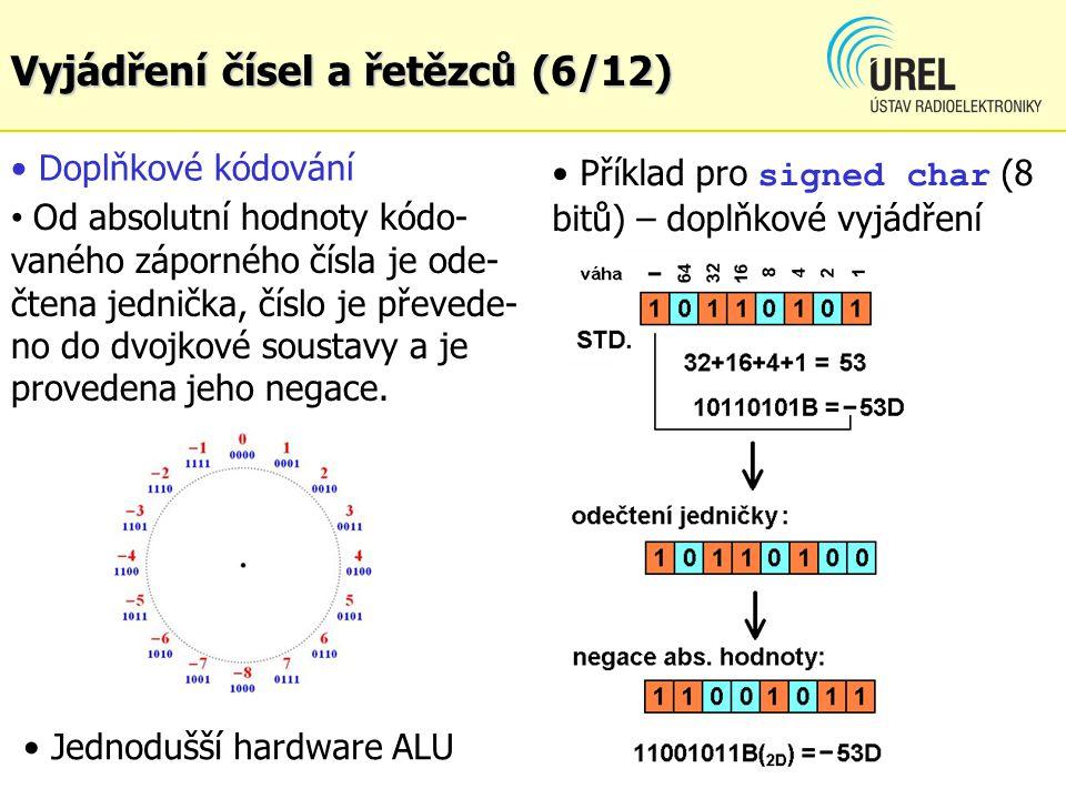 Doplňkové kódování Od absolutní hodnoty kódo- vaného záporného čísla je ode- čtena jednička, číslo je převede- no do dvojkové soustavy a je provedena jeho negace.