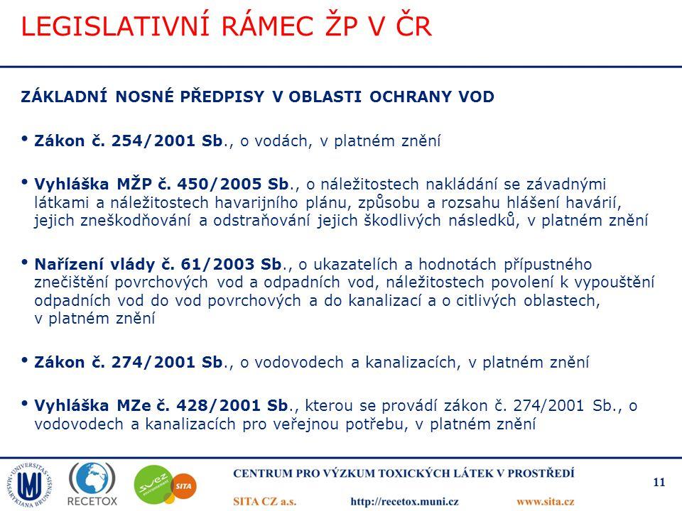 LEGISLATIVNÍ RÁMEC ŽP V ČR ZÁKLADNÍ NOSNÉ PŘEDPISY V OBLASTI OCHRANY VOD Zákon č. 254/2001 Sb., o vodách, v platném znění Vyhláška MŽP č. 450/2005 Sb.