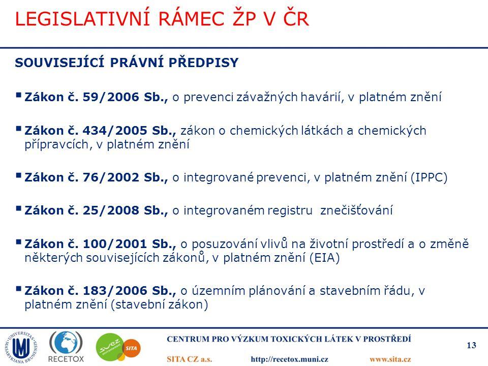 LEGISLATIVNÍ RÁMEC ŽP V ČR SOUVISEJÍCÍ PRÁVNÍ PŘEDPISY  Zákon č. 59/2006 Sb., o prevenci závažných havárií, v platném znění  Zákon č. 434/2005 Sb.,