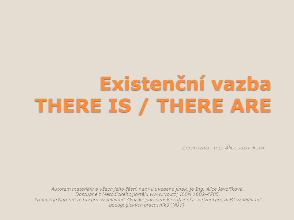 Existenční vazba THERE IS / THERE ARE Autorem materiálu a všech jeho částí, není-li uvedeno jinak, je Ing.