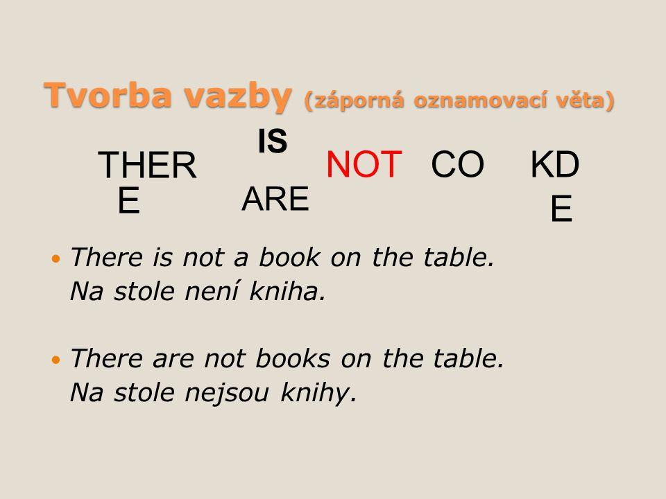 Tvorba vazby (záporná oznamovací věta) There is not a book on the table. Na stole není kniha. There are not books on the table. Na stole nejsou knihy.