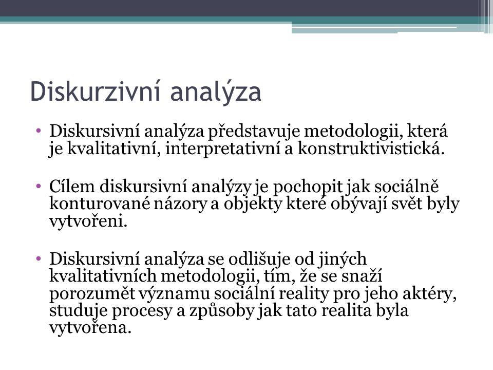 Diskurzivní analýza Diskursivní analýza představuje metodologii, která je kvalitativní, interpretativní a konstruktivistická.
