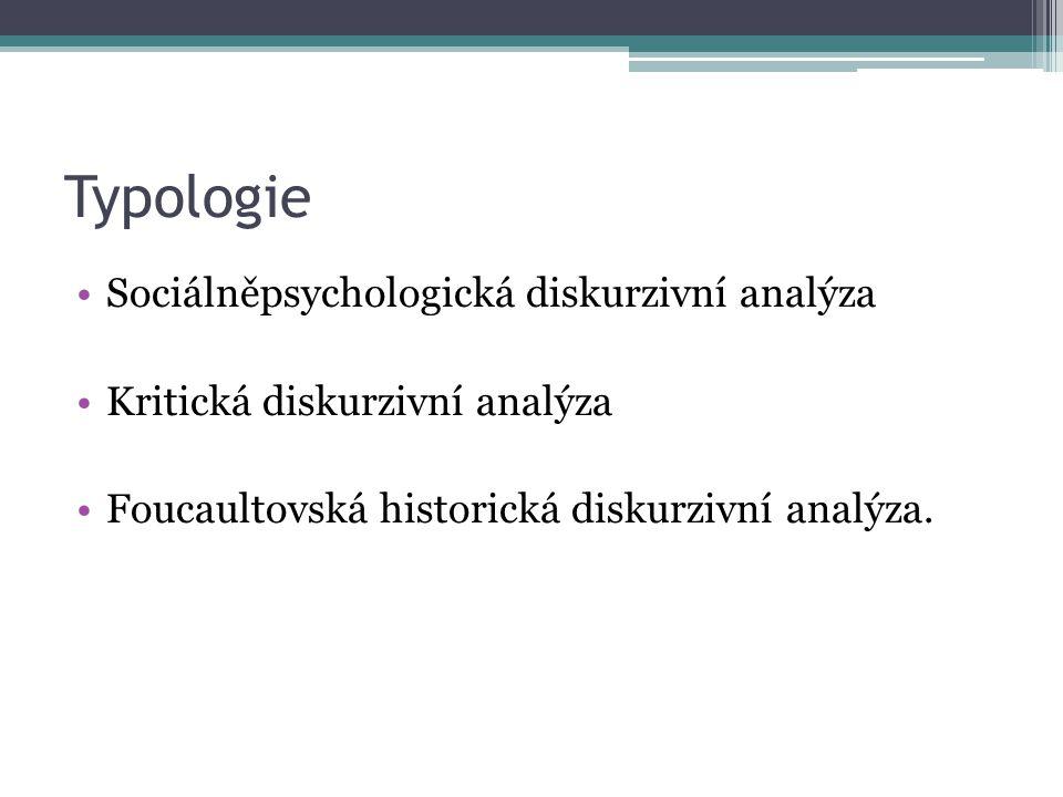 Typologie Sociálněpsychologická diskurzivní analýza Kritická diskurzivní analýza Foucaultovská historická diskurzivní analýza.