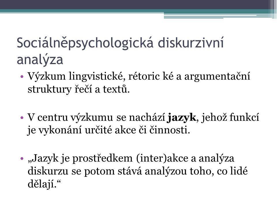 Sociálněpsychologická diskurzivní analýza Výzkum lingvistické, rétoric ké a argumentační struktury řečí a textů.