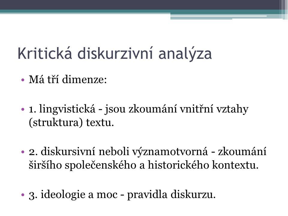 Kritická diskurzivní analýza Má tří dimenze: 1.