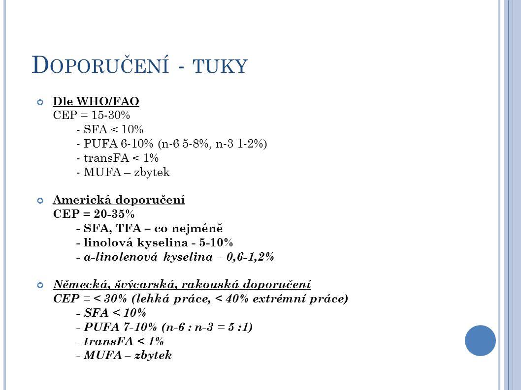 D OPORUČENÍ - TUKY Dle WHO/FAO CEP = 15-30% - SFA < 10% - PUFA 6-10% (n-6 5-8%, n-3 1-2%) - transFA < 1% - MUFA – zbytek Americká doporučení CEP = 20-35% - SFA, TFA – co nejméně - linolová kyselina - 5-10% - α-linolenová kyselina – 0,6-1,2% Německá, švýcarská, rakouská doporučení CEP = < 30% (lehká práce, < 40% extrémní práce) - SFA < 10% - PUFA 7-10% (n-6 : n-3 = 5 :1) - transFA < 1% - MUFA – zbytek