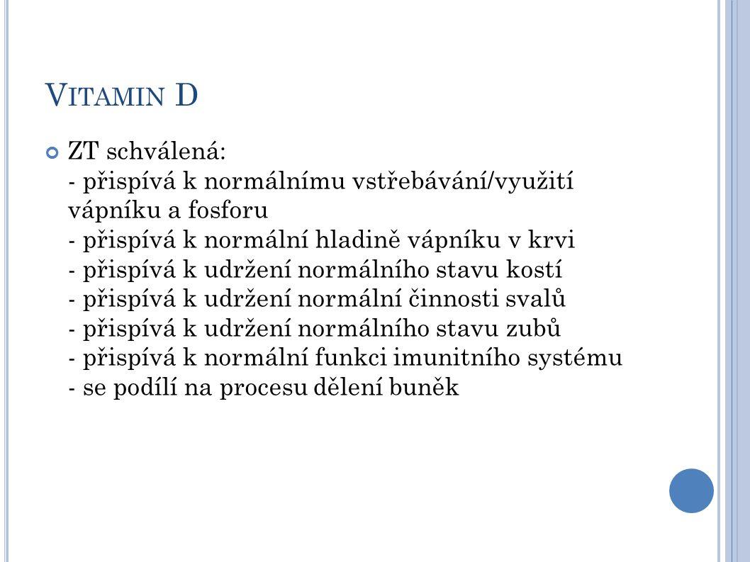 V ITAMIN D ZT schválená: - přispívá k normálnímu vstřebávání/využití vápníku a fosforu - přispívá k normální hladině vápníku v krvi - přispívá k udržení normálního stavu kostí - přispívá k udržení normální činnosti svalů - přispívá k udržení normálního stavu zubů - přispívá k normální funkci imunitního systému - se podílí na procesu dělení buněk