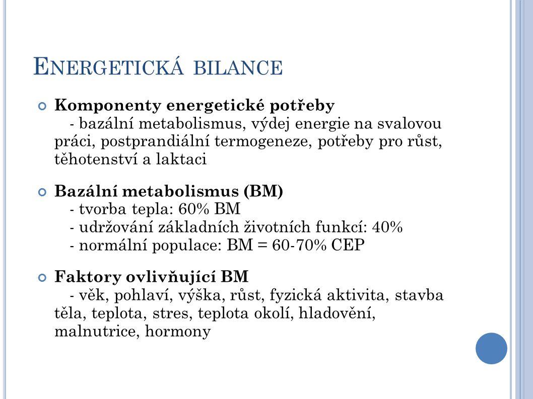 E NERGETICKÁ BILANCE Komponenty energetické potřeby - bazální metabolismus, výdej energie na svalovou práci, postprandiální termogeneze, potřeby pro růst, těhotenství a laktaci Bazální metabolismus (BM) - tvorba tepla: 60% BM - udržování základních životních funkcí: 40% - normální populace: BM = 60-70% CEP Faktory ovlivňující BM - věk, pohlaví, výška, růst, fyzická aktivita, stavba těla, teplota, stres, teplota okolí, hladovění, malnutrice, hormony