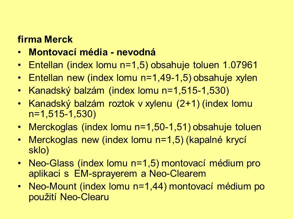 firma Merck Montovací média - nevodná Entellan (index lomu n=1,5) obsahuje toluen 1.07961 Entellan new (index lomu n=1,49-1,5) obsahuje xylen Kanadský