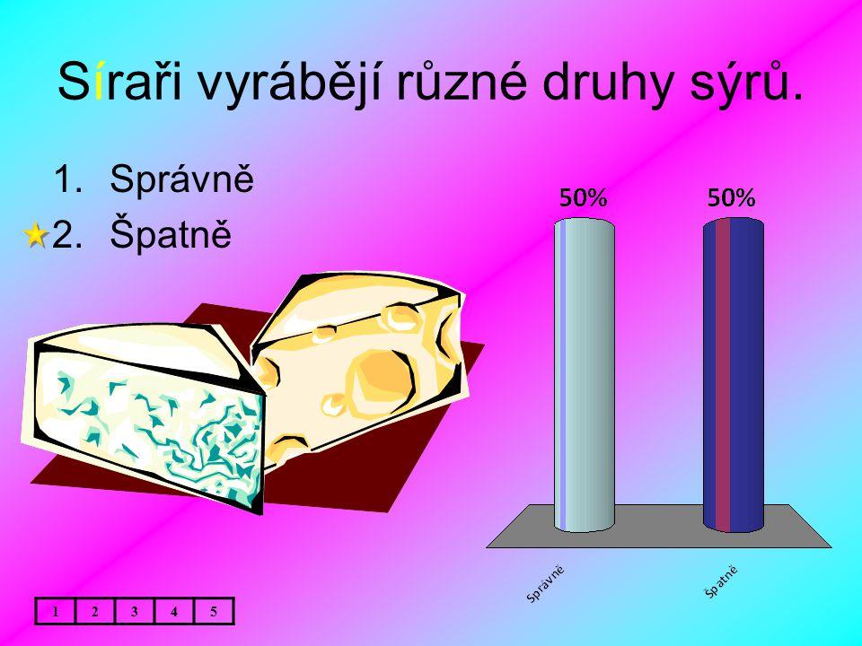Síraři vyrábějí různé druhy sýrů. 1.Správně 2.Špatně 12345