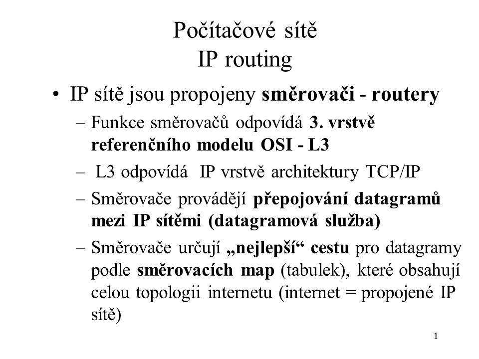 11 Počítačové sítě IP routing IP sítě jsou propojeny směrovači - routery –Funkce směrovačů odpovídá 3.