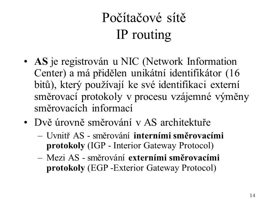 14 Počítačové sítě IP routing AS je registrován u NIC (Network Information Center) a má přidělen unikátní identifikátor (16 bitů), který používají ke své identifikaci externí směrovací protokoly v procesu vzájemné výměny směrovacích informací Dvě úrovně směrování v AS architektuře –Uvnitř AS - směrování interními směrovacími protokoly (IGP - Interior Gateway Protocol) –Mezi AS - směrování externími směrovacími protokoly (EGP -Exterior Gateway Protocol)