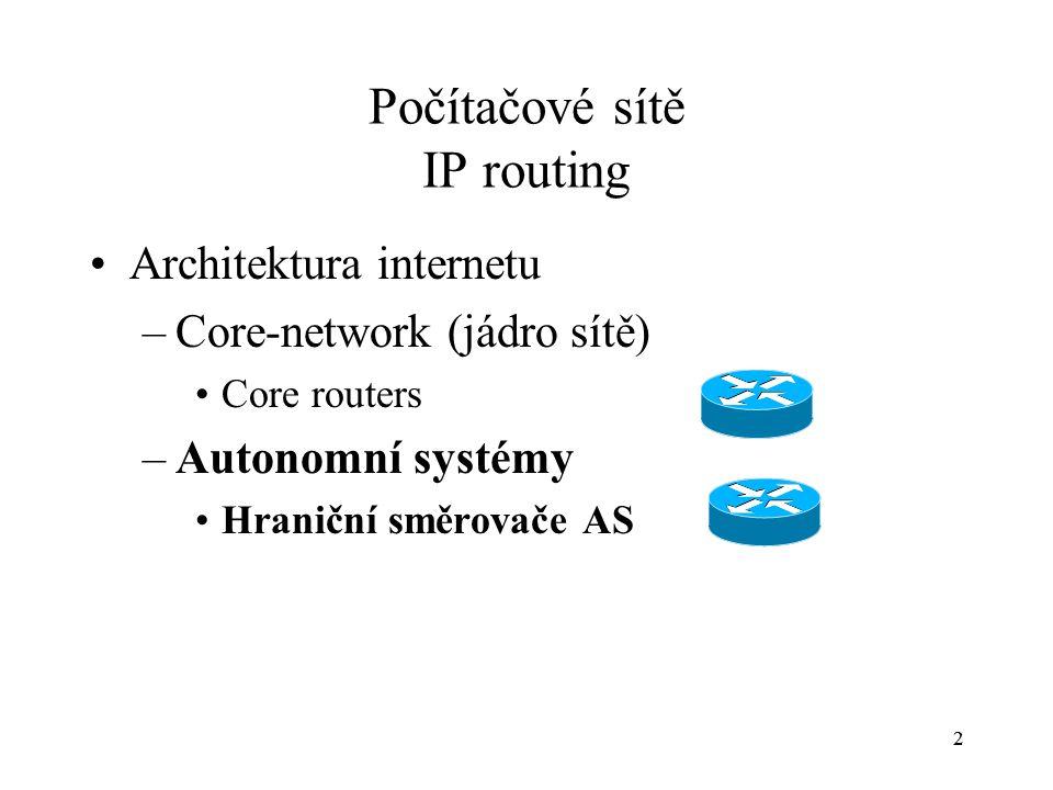 2 Počítačové sítě IP routing Architektura internetu –Core-network (jádro sítě) Core routers –Autonomní systémy Hraniční směrovače AS 2