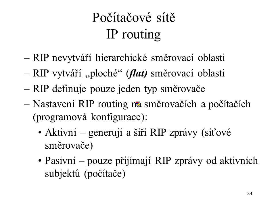 """24 Počítačové sítě IP routing –RIP nevytváří hierarchické směrovací oblasti –RIP vytváří """"ploché (flat) směrovací oblasti –RIP definuje pouze jeden typ směrovače –Nastavení RIP routing na směrovačích a počítačích (programová konfigurace): Aktivní – generují a šíří RIP zprávy (síťové směrovače) Pasivní – pouze přijímají RIP zprávy od aktivních subjektů (počítače)"""