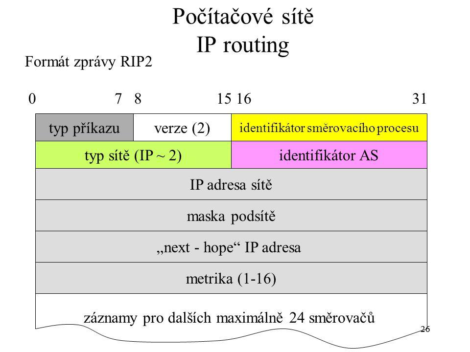 """26 Počítačové sítě IP routing Formát zprávy RIP2 typ příkazuverze (2) identifikátor směrovacího procesu identifikátor AStyp sítě (IP ~ 2) IP adresa sítě maska podsítě """"next - hope IP adresa metrika (1-16) záznamy pro dalších maximálně 24 směrovačů 0 7 8 15 16 31"""