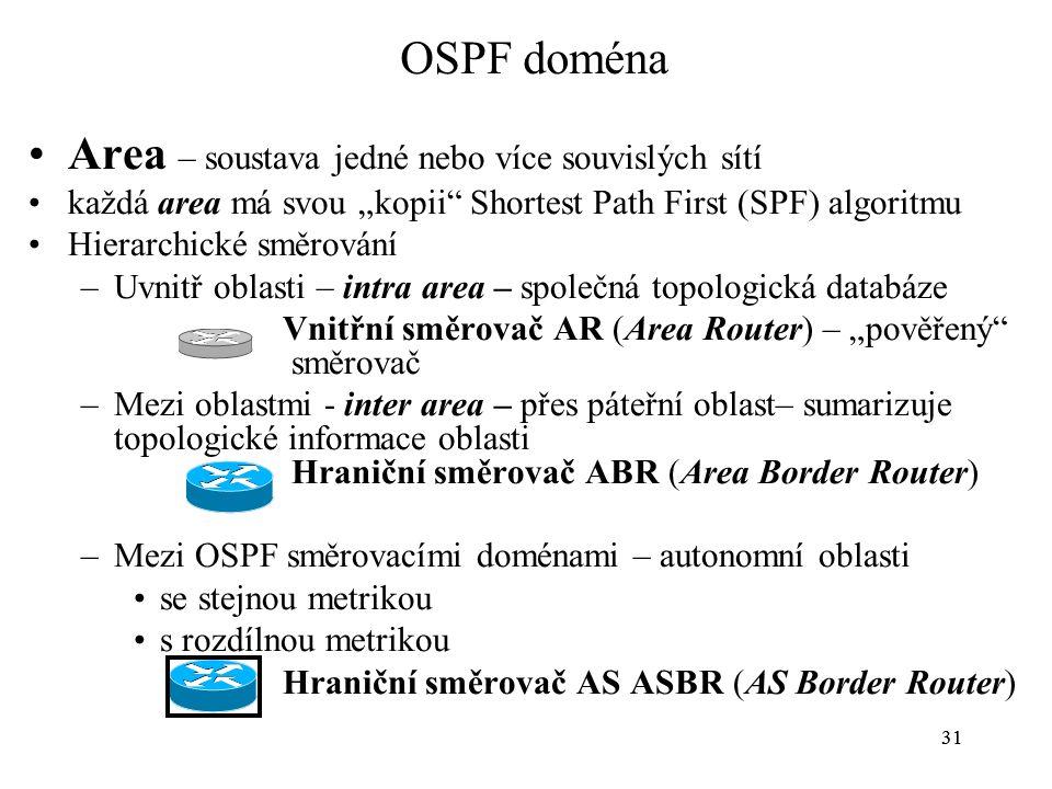 """31 OSPF doména Area – soustava jedné nebo více souvislých sítí každá area má svou """"kopii Shortest Path First (SPF) algoritmu Hierarchické směrování –Uvnitř oblasti – intra area – společná topologická databáze Vnitřní směrovač AR (Area Router) – """"pověřený směrovač –Mezi oblastmi - inter area – přes páteřní oblast– sumarizuje topologické informace oblasti Hraniční směrovač ABR (Area Border Router) –Mezi OSPF směrovacími doménami – autonomní oblasti se stejnou metrikou s rozdílnou metrikou Hraniční směrovač AS ASBR (AS Border Router)"""