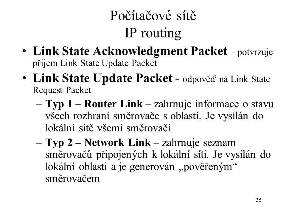 35 Počítačové sítě IP routing Link State Acknowledgment Packet - potvrzuje příjem Link State Update Packet Link State Update Packet - odpověď na Link State Request Packet –Typ 1 – Router Link – zahrnuje informace o stavu všech rozhraní směrovače s oblastí.