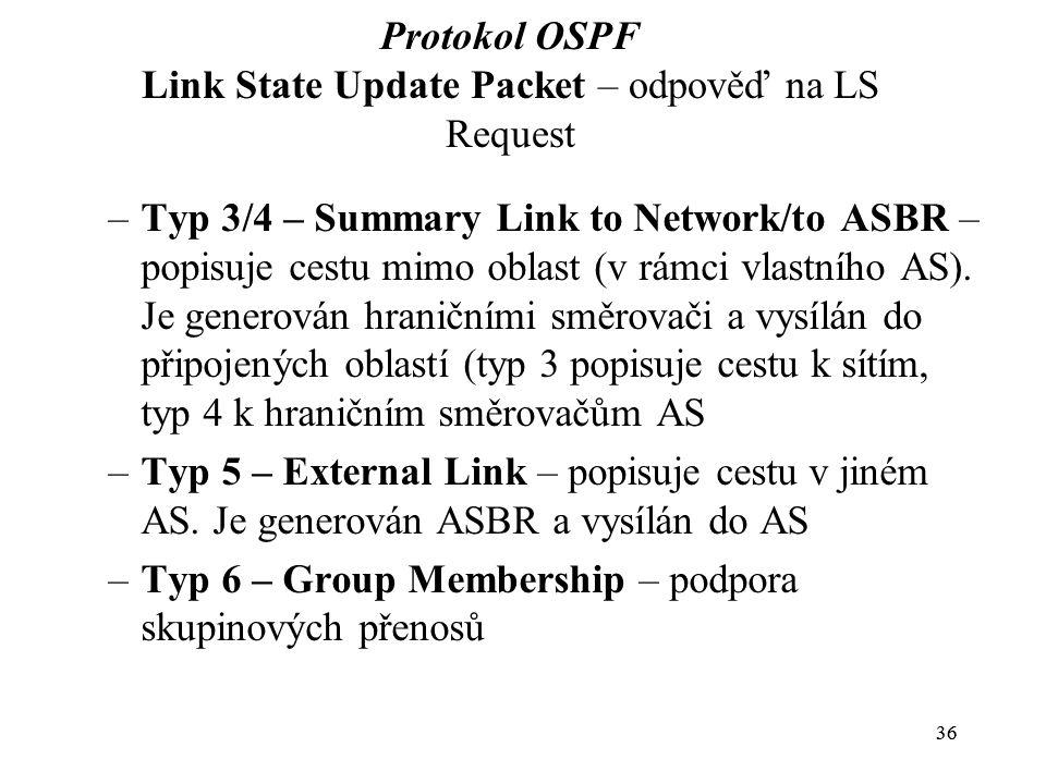 36 Protokol OSPF Link State Update Packet – odpověď na LS Request –Typ 3/4 – Summary Link to Network/to ASBR – popisuje cestu mimo oblast (v rámci vlastního AS).